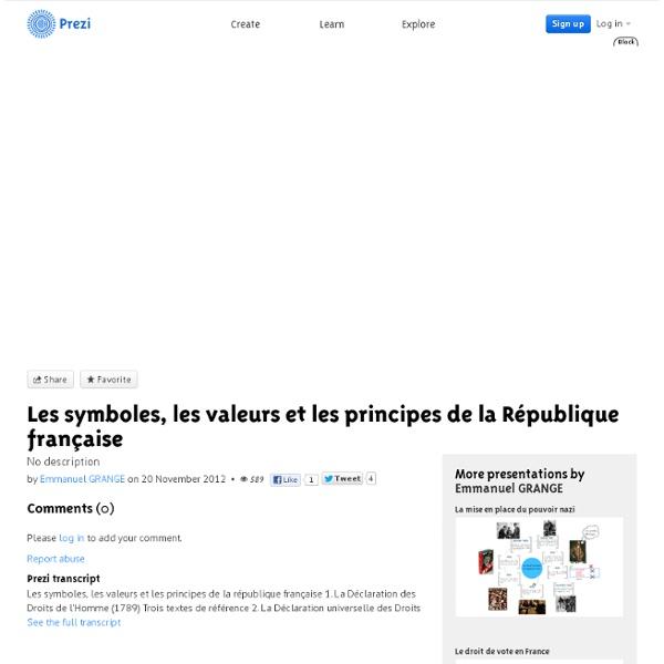 Les symboles, les valeurs et les principes de la République française by Emmanuel GRANGE on Prezi