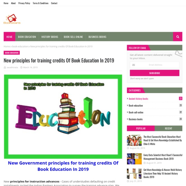 New principles for training credits Of Book Education In 2019