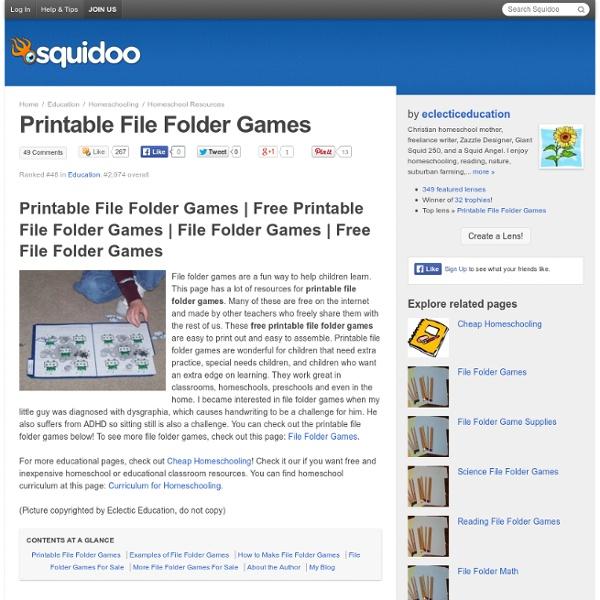 Printable File Folder Games