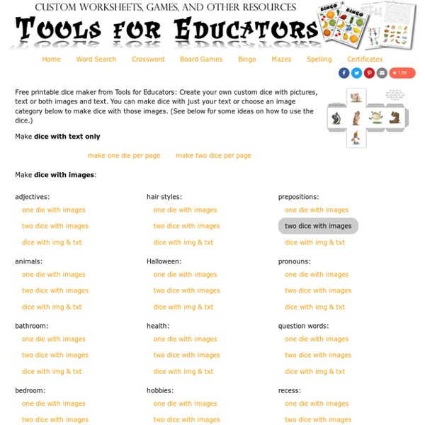 Free online dice maker, dice generator, worksheets and dice to print