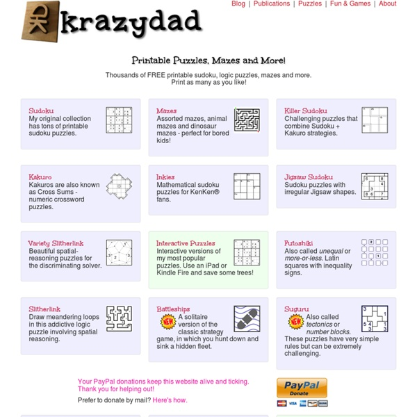 Printable Puzzles by KrazyDad | Pearltrees