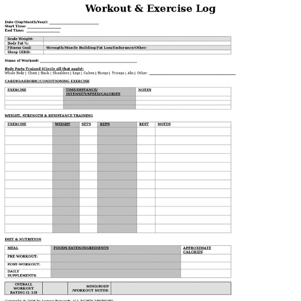 free printable workout exercise log pearltrees