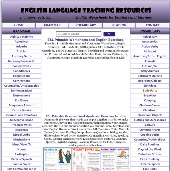 Grammar,Vocabulary ESL Worksheets,Printables,Tests,Puzzles