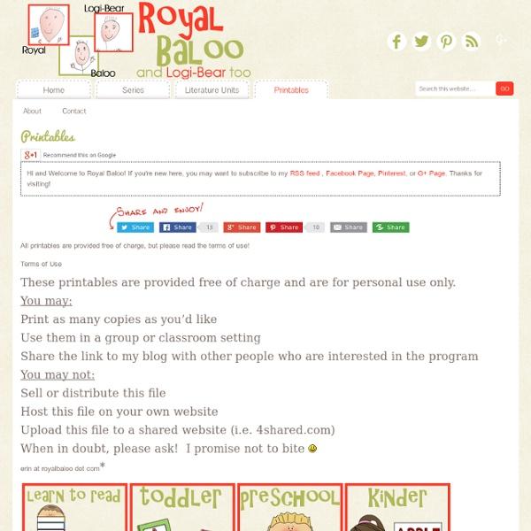 Royal Baloo free printable packs