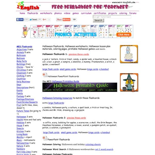 Halloween games, bingo, worksheets, flashcards, activities