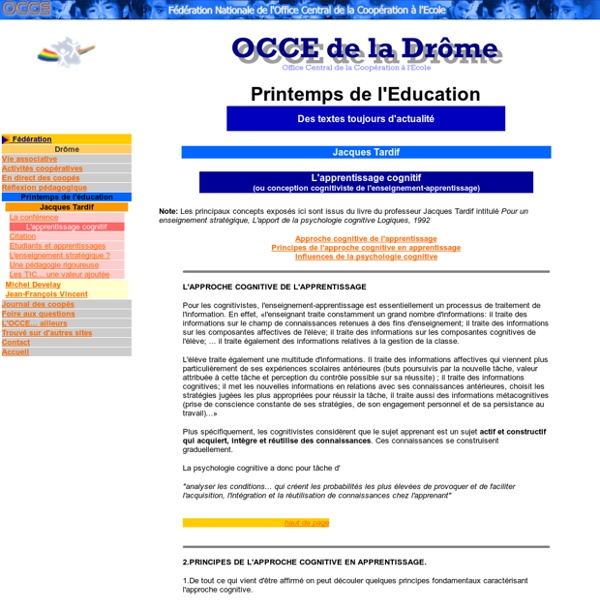 OCCE 26 - Printemps de l'Education - J Tardif / Apprentissage cognitif