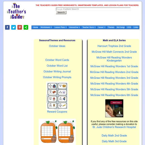 The Teacher's Guide-Free Worksheets, lesson plans, SMARTBoard templates, and Children's Songs
