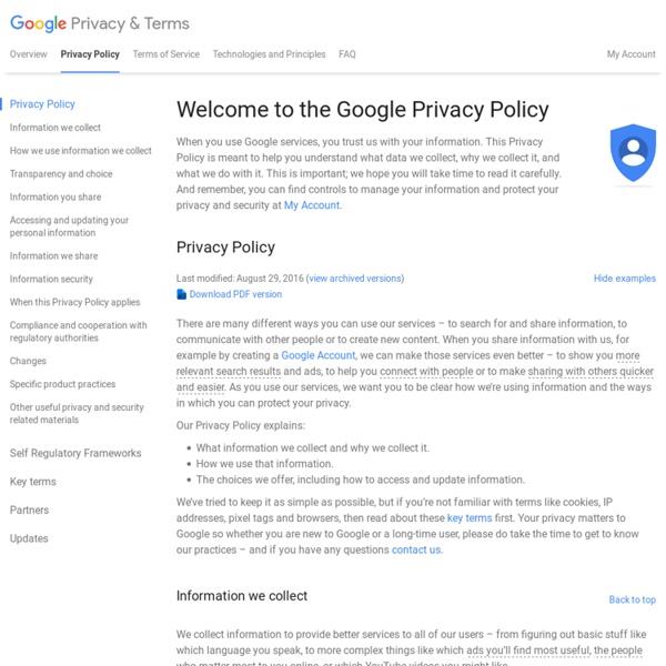 Aperçu: Règles de confidentialité – Règles et principes