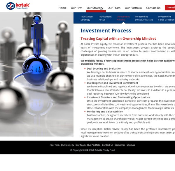 Private Equity Investors in India, Investment Process - Kotak Private Equity