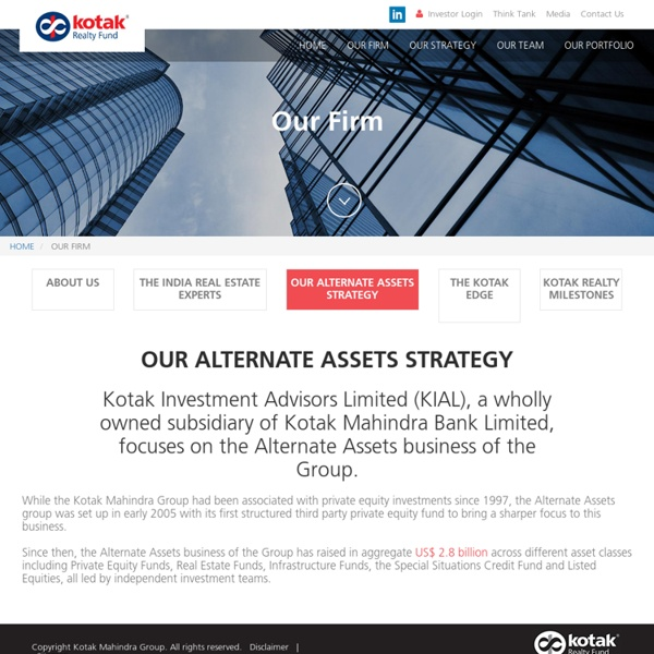 Alternate Opportunities Funds in India - Kotak Realty Fund