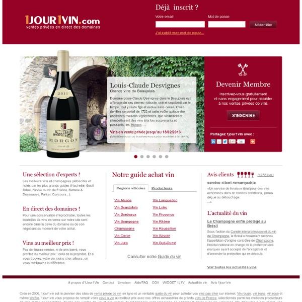 Vins - Achat vin en vente privée au meilleur prix sur 1jour1vin