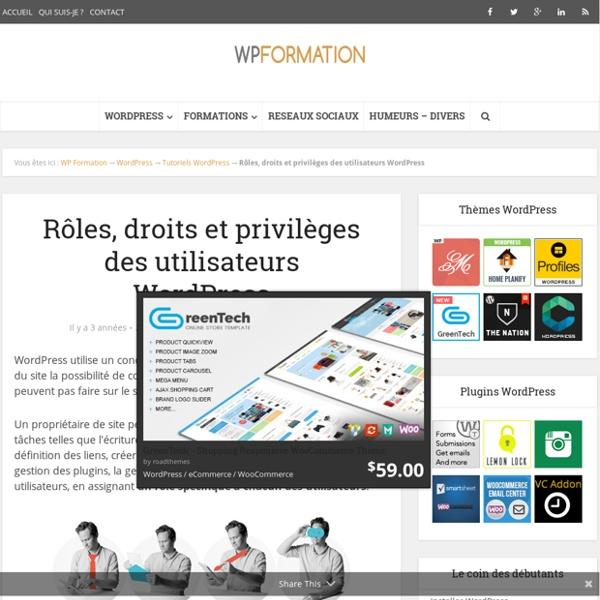 Rôles, droits et privilèges des utilisateurs WordPress