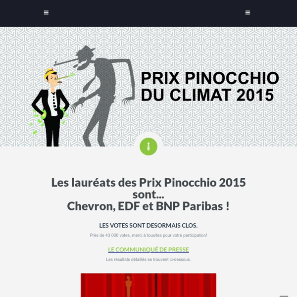 Les Amis de la Terre : Les prix pinocchio du développement durable