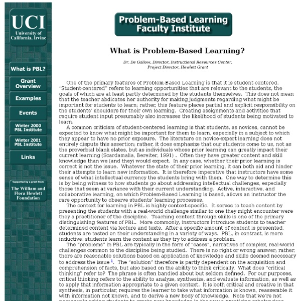 Problem-Based Learning Faculty Institute - What is PBL?