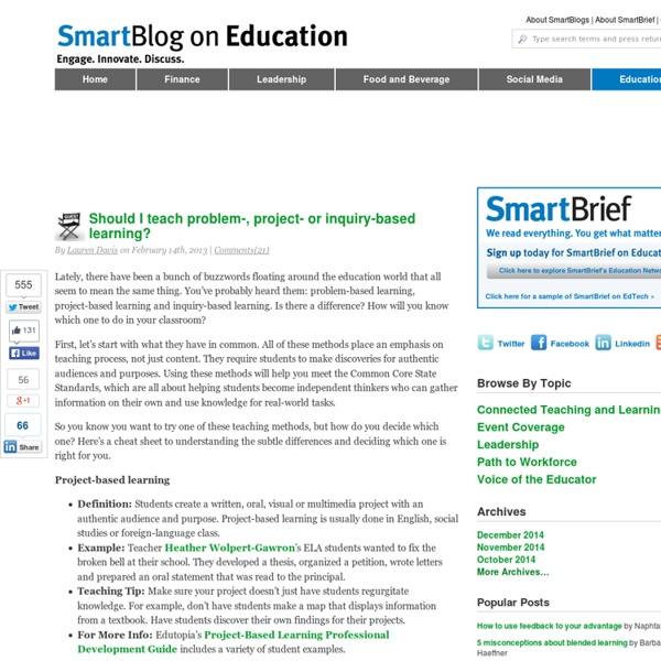 Should I teach problem-, project-, or inquiry-based learning? SmartBlogs
