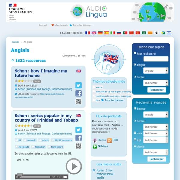 Inglês - Audio Lingua - mp3 em inglês, alemão, espanhol, italiano, russo, português e francês