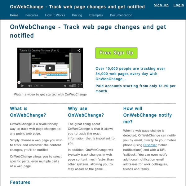 Femtoo - Web page change tracking and notification system