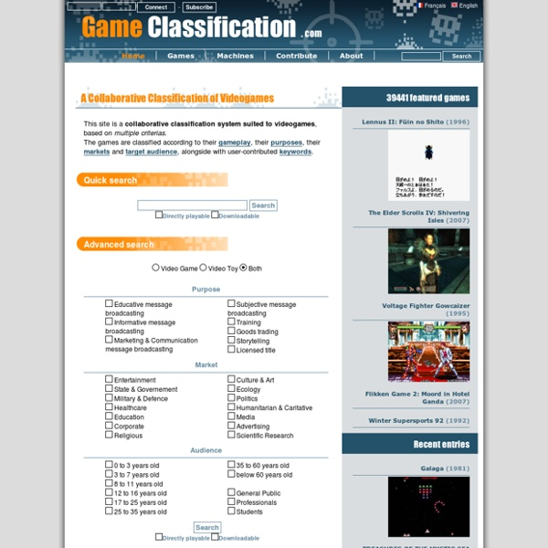 Game Classification : The online classification of videogames