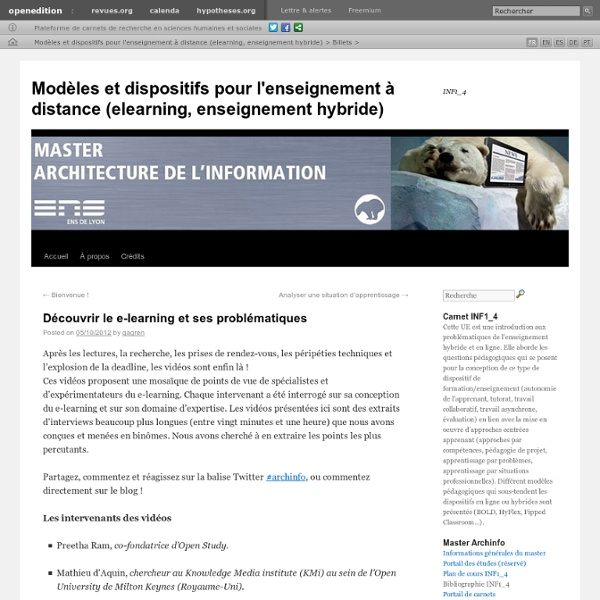 Modèles et dispositifs pour l'enseignement à distance (elearning, enseignement hybride)