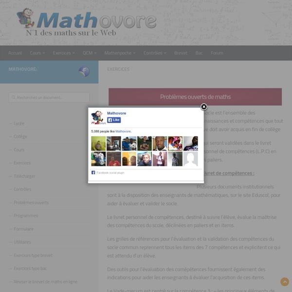 219 problèmes ouverts de mathématiques au collège et lycée.
