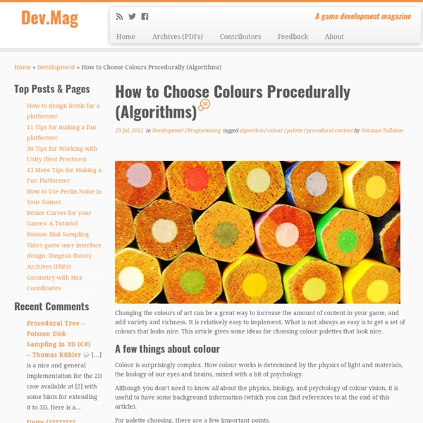 How to Choose Colours Procedurally (Algorithms)