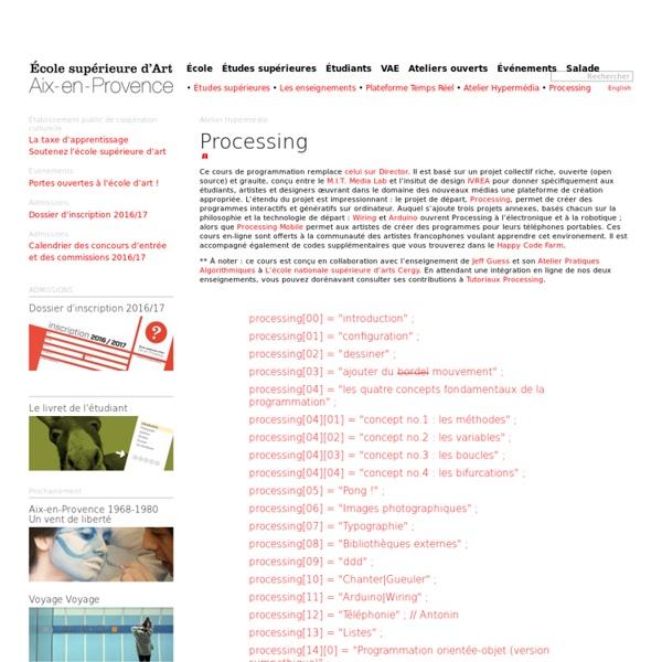 Processing -Ecole d'Art d'Aix en provence