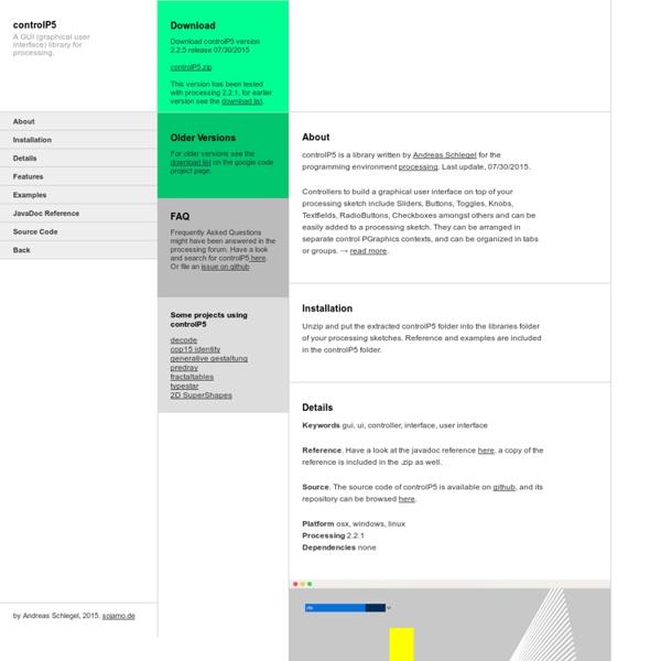 Processing GUI, controlP5