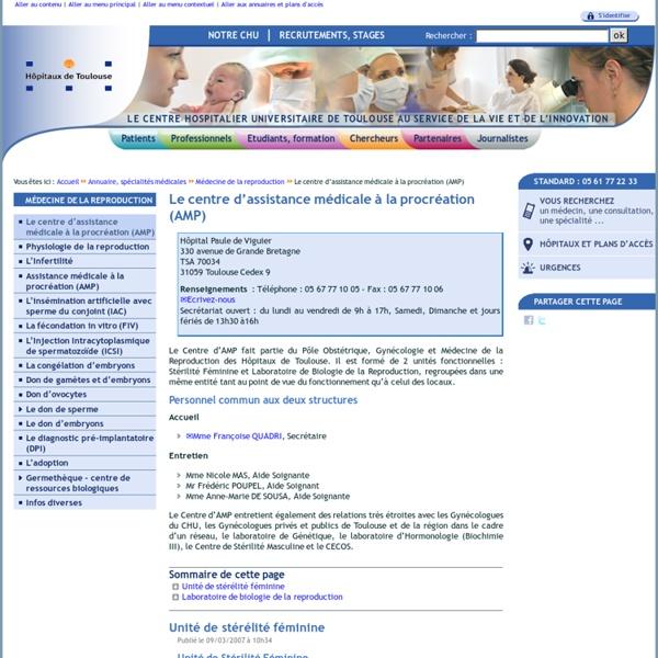 Le centre d'assistance médicale à la procréation (AMP)
