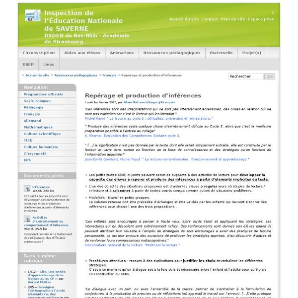 Repérage et production d'inférences - Inspection de l'Éducation Nationale de SAVERNE DSDEN du Bas-Rhin - Académie de Strasbourg