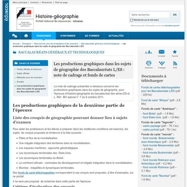 Term ES/ L : productions graphiques : note de cadrage ,fonds de carteset liste des croquis