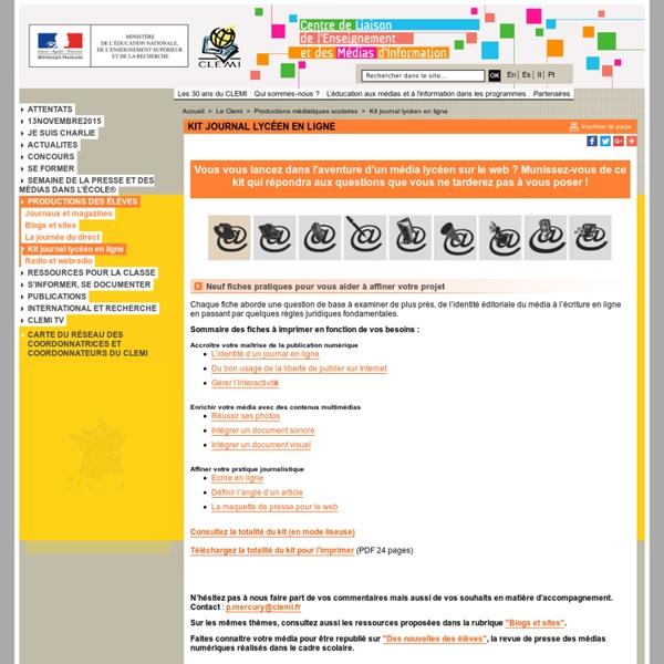 Kit journal lycéen en ligne - Productions médiatiques scolaires