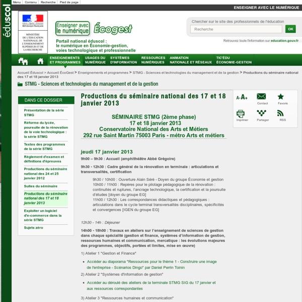 Productions du séminaire national des 17 et 18 janvier 2013 — ÉcoGest