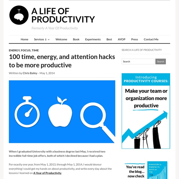 A Life of Productivity – 100 time, energy, and attention hacks to be more productive