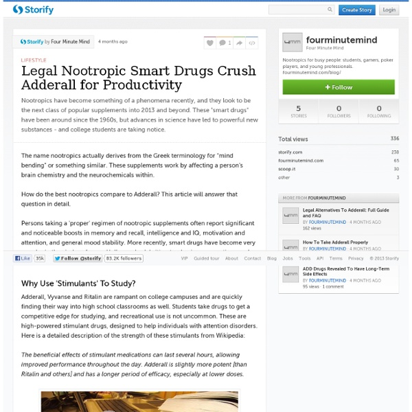 Legal Nootropic Smart Drugs Crush Adderall for Productivity (with images) · fourminutemind