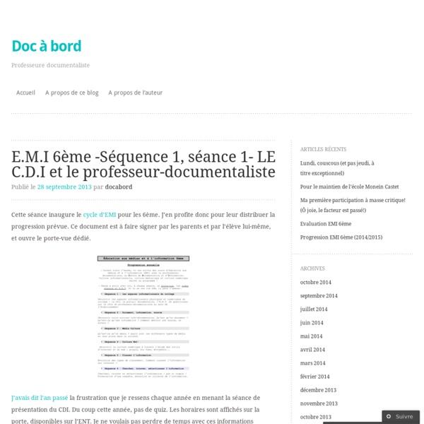 E.M.I 6ème -Séquence 1, séance 1- LE C.D.I et le professeur-documentaliste