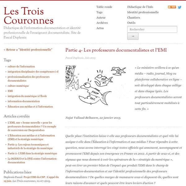 L'EMI, quel(s) enseignement(s) pour le professeur documentaliste? (Duplessis, jan 2016)