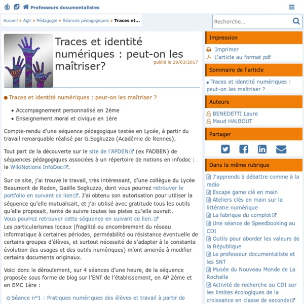 Traces et identité numériques : peut-on les maîtriser ?- Les Enseignants Documentalistes de l'Académie de Poitiers