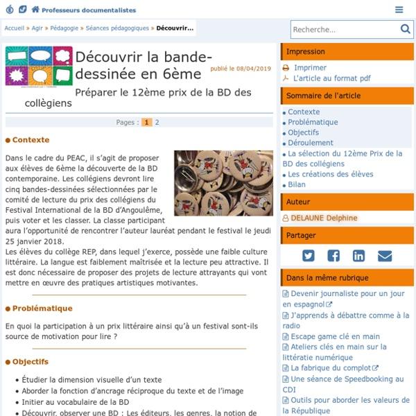 Découvrir la bande-dessinée en 6ème - Doc'Poitiers - Le site des professeurs documentalistes