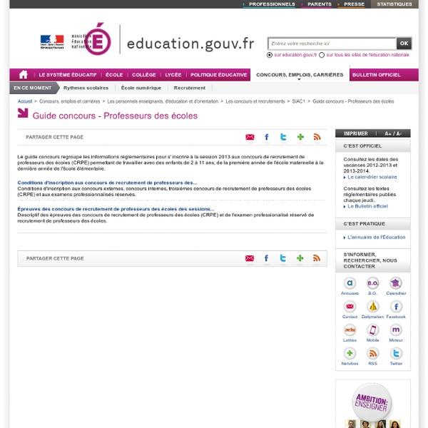 Guide SIAC Concours enseignants du premier degré - Guide des concours enseignants du premier degré