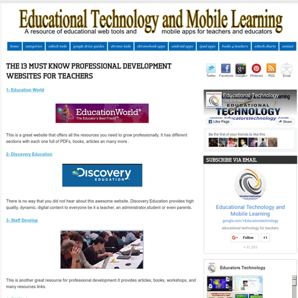 The 13 MUST Know Professional Development Websites for Teachers