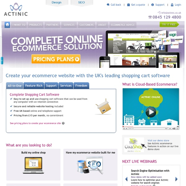 Actinic Online E-commerce Oxatis solution shopping cart