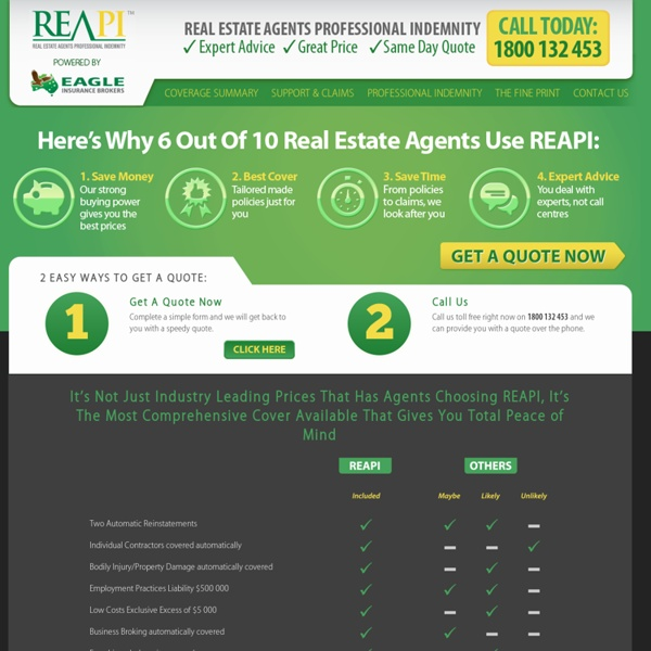 Welcome to REAPI - Professional Indemnity for Licensed Real Estate Agents. Purchase Coverage Online.