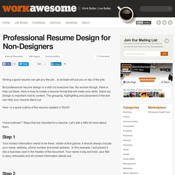 professional resume design for non designers www