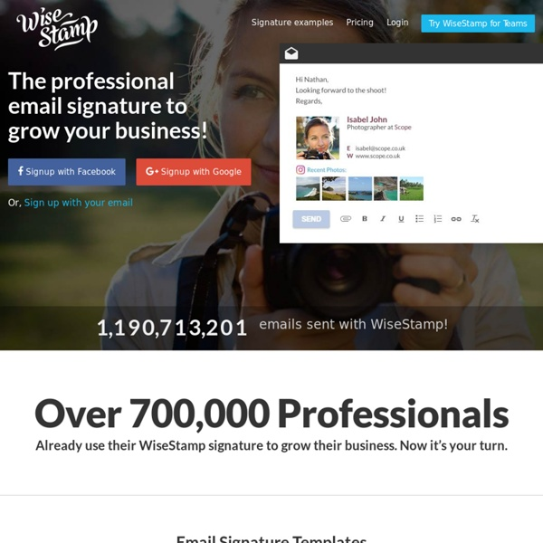 » WiseStamp Email Signatures - Bring Life to your Email