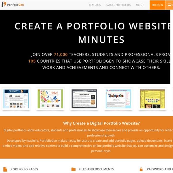 Portfoliogen - Create a Free Customized Teacher Portfolio Webpage in Minutes!