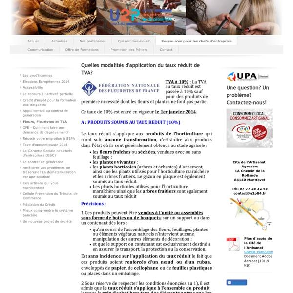 Union Professionelle Artisanale 84 - Fleurs, Fleuristes et TVA