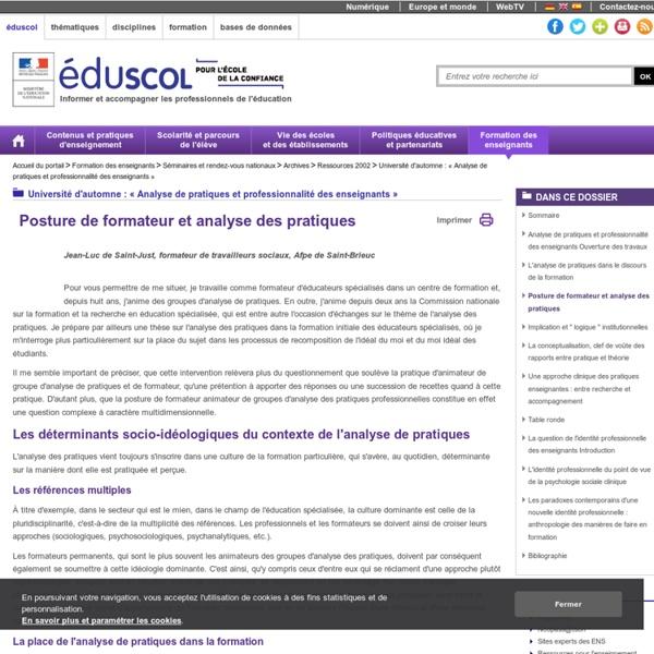 Université d'automne : « Analyse de pratiques et professionnalité des enseignants » - Posture de formateur et analyse des pratiques