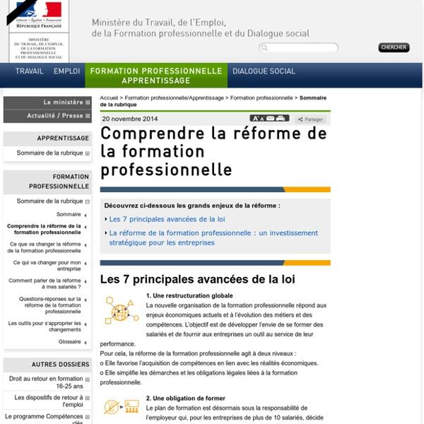 Comprendre la réforme de la formation professionnelle - Formation professionnelle/Apprentissage