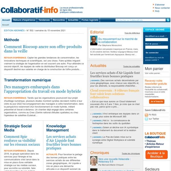 La revue professionnelle en ligne des pratiques collaboratives