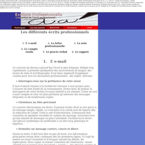 Ecriture Professionnelle : le site de l'essentiel de l'écrit professionnel